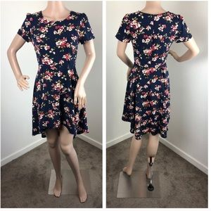 Forever 21 navy blue floral high low dress